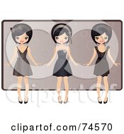 Royalty Free RF Clipart Illustration Of A Digital Collage Of An Asian Girl In Three Different Dresses by Melisende Vector