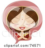 Royalty Free RF Clipart Illustration Of A Bollywood Indian Woman In Prayer by Melisende Vector