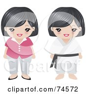 Royalty Free RF Clipart Illustration Of A Digital Collage Of A Senior Asian Woman by Melisende Vector