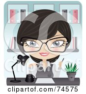 Royalty Free RF Clipart Illustration Of A Friendly Receptionist Working At Her Desk by Melisende Vector #COLLC74575-0068