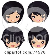 Royalty Free RF Clipart Illustration Of A Digital Collage Of Four Asian Heads With Different Hair Styles by Melisende Vector