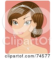 Royalty Free RF Clipart Illustration Of A Beautiful Brunette Bride Or Beauty Queen Wearing A Tiara