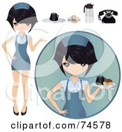 Royalty Free RF Clipart Illustration Of A Digital Collage Of An Asian Waitress With Food by Melisende Vector