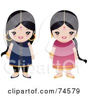 Royalty Free RF Clipart Illustration Of A Digital Collage Of Two Little Indian Girls by Melisende Vector