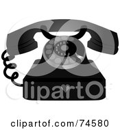 Royalty Free RF Clipart Illustration Of A Black And Silver Rotary Phone With A Heart Symbol