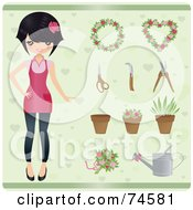 Royalty Free RF Clipart Illustration Of A Stylish Young Female Gardener With Plants And Tools Over Green by Melisende Vector