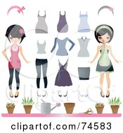 Royalty Free RF Clipart Illustration Of A Digital Collage Of An Asian Woman With Clothes And Gardening Supplies