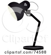 Royalty Free RF Clipart Illustration Of A Black Desk Lamp With A Heart Symbol