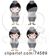 Royalty Free RF Clipart Illustration Of A Digital Collage Of A Chubby Asian Woman In A Uniform
