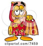 Clipart Picture Of A Bandaid Bandage Mascot Cartoon Character In Orange And Red Snorkel Gear