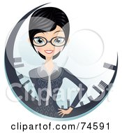 Royalty Free RF Clipart Illustration Of A Professional Businesswoman In A Circle Of Skyscrapers by Melisende Vector #COLLC74591-0068