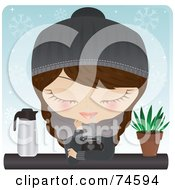 Royalty Free RF Clipart Illustration Of A Cold Woman Warming Up Over A Cup Of Hot Chocolate Or Coffee On A Wintry Day