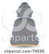 Royalty Free RF Clipart Illustration Of A Happy Smiling Stone Buddha Statue