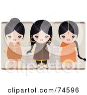 Royalty Free RF Clipart Illustration Of A Digital Collage Of Three Black Haired Indian Girls