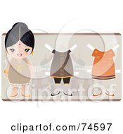 Paper Doll Indian Woman With Clothes And Shoes