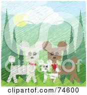 Painted Scene Of Three White And Brown Poodles In The Woods With Texture