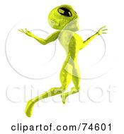 Royalty Free RF Clipart Illustration Of A 3d Green Alien Being Leaping