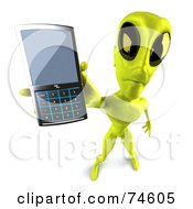 Royalty Free RF Clipart Illustration Of A 3d Green Alien Being Holding Out A Cell Phone by Julos