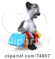 Royalty Free RF Clipart Illustration Of A 3d Siamese Pussy Cat Character Carrying Shopping Bags Version 2