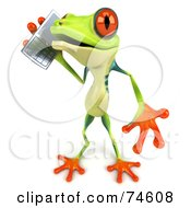 Royalty Free RF Clipart Illustration Of A 3d Green Tree Frog Using A Cell Phone Version 2 by Julos