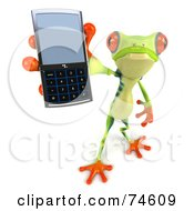 Royalty Free RF Clipart Illustration Of A 3d Green Tree Frog Using A Cell Phone Version 3 by Julos