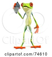 Royalty Free RF Clipart Illustration Of A 3d Green Tree Frog Using A Cell Phone Version 1 by Julos