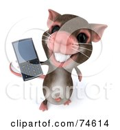 Royalty Free RF Clipart Illustration Of A 3d Mouse Character Using A Cell Phone Version 2