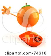 Royalty Free RF Clipart Illustration Of A 3d Naval Orange Character On A Scale