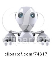 Royalty Free RF Clipart Illustration Of A 3d Robot Boy Character Holding Up A Blank Sign by Julos
