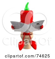 Royalty Free RF Clipart Illustration Of A 3d Red Chili Pepper Character Reading On A Toilet Version 1 by Julos