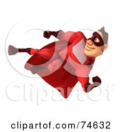 3d Red Super Hero Guy Kicking Hard Version 2 by Julos