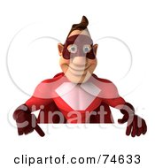 3d Red Super Hero Guy Pointing To And Holding A Blank Sign by Julos