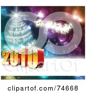 Royalty Free RF Clipart Illustration Of A 3d 2010 New Year By A Christmas Tree And Santa On Colorful Sparkles by MacX