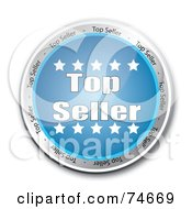 Royalty Free RF Clipart Illustration Of A Reflective Blue Top Seller Service Button by MacX