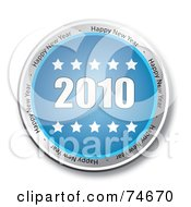 Royalty Free RF Clipart Illustration Of A Reflective Blue 2010 Service Button