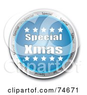 Reflective Blue Special Xmas Service Button