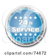 Royalty Free RF Clipart Illustration Of A Reflective Blue 24 H Service Button by MacX