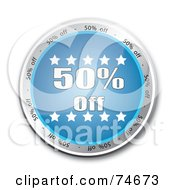 Royalty Free RF Clipart Illustration Of A Reflective Blue Fifty Percent Off Button