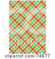 Royalty Free RF Clipart Illustration Of A Red Yellow Green And Pink Diagonal Plaid Background by MacX