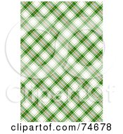 Royalty Free RF Clipart Illustration Of A Green And White Diagonal Plaid Background by MacX
