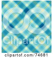 Royalty Free RF Clipart Illustration Of A Blue And Yellow Diagonal Plaid Background by MacX