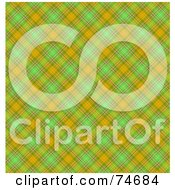 Royalty Free RF Clipart Illustration Of A Green And Orange Diagonal Plaid Background by MacX