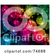 Royalty Free RF Clipart Illustration Of A Background Of Colorful Sparkly Glittering Lights Version 2 by MacX