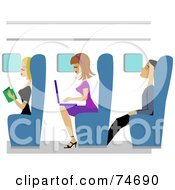 Royalty Free RF Clipart Illustration Of Men And Women Reading Using A Laptop And Napping On A Plane