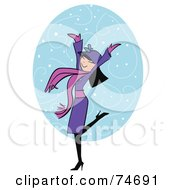 Royalty Free RF Clipart Illustration Of A Happy Woman Wearing A Purple Coat And Celebrating In The Snow