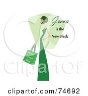 Royalty Free RF Clipart Illustration Of A Woman In Green With Green Is The New Black Text by peachidesigns