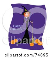Laughing Red Haired Witch With A Broom And Pumpkins With Happy Halloween Text