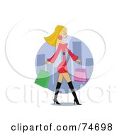 Royalty Free RF Clipart Illustration Of A Stylish Blond Woman In Boots And A Red Dress Carrying Shopping Bags In A City by peachidesigns