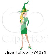 Royalty Free RF Clipart Illustration Of A Beautiful Blond Elf Woman In Green by peachidesigns