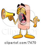 Bandaid Bandage Mascot Cartoon Character Screaming Into A Megaphone by Toons4Biz